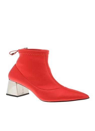 Derigo Kalın Topuklu Süet Bot Kırmızı